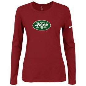 Wholesale Cheap Women\'s Nike New York Jets Of The City Long Sleeve Tri-Blend NFL T-Shirt Red