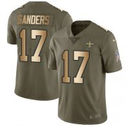 Wholesale Cheap Nike Saints #17 Emmanuel Sanders Olive/Gold Youth Stitched NFL Limited 2017 Salute To Service Jersey