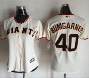 Wholesale Cheap Giants #40 Madison Bumgarner Cream Women's Home Stitched MLB Jersey