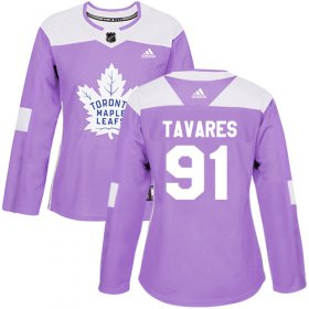 Wholesale Cheap Adidas Maple Leafs #91 John Tavares Purple Authentic Fights Cancer Women\'s Stitched NHL Jersey