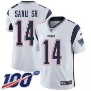Wholesale Cheap Nike Patriots #14 Mohamed Sanu Sr White Youth Stitched NFL 100th Season Vapor Untouchable Limited Jersey