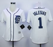 Wholesale Cheap Tigers #1 Jose Iglesias White Home Women's Stitched MLB Jersey