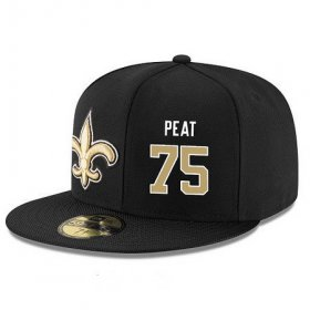 Wholesale Cheap New Orleans Saints #75 Andrus Peat Snapback Cap NFL Player Black with Gold Number Stitched Hat