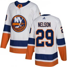 Wholesale Cheap Adidas Islanders #29 Brock Nelson White Road Authentic Stitched Youth NHL Jersey
