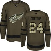 Wholesale Cheap Adidas Red Wings #24 Chris Chelios Green Salute to Service Stitched NHL Jersey