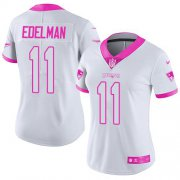 Wholesale Cheap Nike Patriots #11 Julian Edelman White/Pink Women's Stitched NFL Limited Rush Fashion Jersey