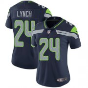 Wholesale Cheap Nike Seahawks #24 Marshawn Lynch Steel Blue Team Color Women's Stitched NFL Vapor Untouchable Limited Jersey