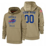 Wholesale Cheap Buffalo Bills Custom Nike Tan 2019 Salute To Service Name & Number Sideline Therma Pullover Hoodie