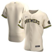 Wholesale Cheap Milwaukee Brewers Men's Nike Cream Alternate 2020 Authentic Team MLB Jersey