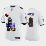 Cheap Baltimore Ravens #8 Lamar Jackson Nike Team Hero 5 Vapor Limited NFL 100 Jersey White