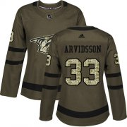 Wholesale Cheap Adidas Predators #33 Viktor Arvidsson Green Salute to Service Women's Stitched NHL Jersey