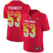 Wholesale Cheap Nike Chargers #53 Mike Pouncey Red Men's Stitched NFL Limited AFC 2019 Pro Bowl Jersey