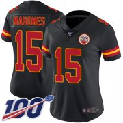 Wholesale Cheap Nike Chiefs #15 Patrick Mahomes Black Women's Stitched NFL Limited Rush 100th Season Jersey