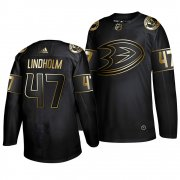 Wholesale Cheap Adidas Ducks #47 Hampus Lindholm Men's 2019 Black Golden Edition Authentic Stitched NHL Jersey