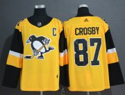 Wholesale Cheap Adidas Penguins #87 Sidney Crosby Gold Alternate Authentic Stitched NHL Jersey