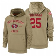 Wholesale Cheap San Francisco 49ers #25 Richard Sherman Nike Tan 2019 Salute To Service Name & Number Sideline Therma Pullover Hoodie