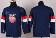 Wholesale Cheap 2014 Olympic Team USA Blank Navy Blue Stitched Youth NHL Jersey