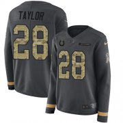 Wholesale Cheap Nike Colts #28 Jonathan Taylor Anthracite Salute to Service Women's Stitched NFL Limited Therma Long Sleeve Jersey