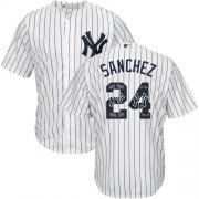 Wholesale Cheap Yankees #24 Gary Sanchez White Strip Team Logo Fashion Stitched MLB Jersey