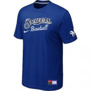 Wholesale Cheap Milwaukee Brewers Nike Short Sleeve Practice MLB T-Shirt Blue