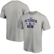 Wholesale Cheap Los Angeles Dodgers Majestic 2019 Postseason ACE T-Shirt Heather Gray