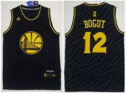 Wholesale Cheap Golden State Warriors #12 Andrew Bogut Black Precious Metals Fashion Stitched NBA Jersey
