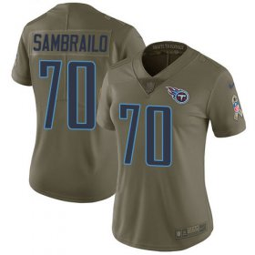 Wholesale Cheap Nike Titans #70 Ty Sambrailo Olive Women\'s Stitched NFL Limited 2017 Salute To Service Jersey