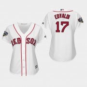 Wholesale Cheap Red Sox #17 Nathan Eovaldi White Home 2018 World Series Women's Stitched MLB Jersey