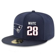 Wholesale Cheap New England Patriots #28 James White Snapback Cap NFL Player Navy Blue with White Number Stitched Hat