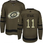 Wholesale Cheap Adidas Hurricanes #11 Jordan Staal Green Salute to Service Stitched Youth NHL Jersey