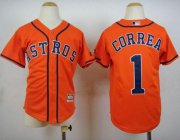 Wholesale Cheap Astros #1 Carlos Correa Orange Cool Base Stitched Youth MLB Jersey