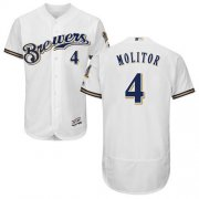 Wholesale Cheap Brewers #4 Paul Molitor White Flexbase Authentic Collection Stitched MLB Jersey