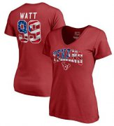 Wholesale Cheap Women's Houston Texans #99 J.J. Watt NFL Pro Line by Fanatics Branded Banner Wave Name & Number T-Shirt Red