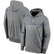 Wholesale Cheap Men's Los Angeles Dodgers Nike Charcoal Authentic Collection Therma Performance Pullover Hoodie
