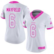 Wholesale Cheap Nike Browns #6 Baker Mayfield White/Pink Women's Stitched NFL Limited Rush Fashion Jersey