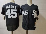 Wholesale Cheap Men's Chicago White Sox #45 Michael Jordan Black Mitchell & Ness Throwback Jersey