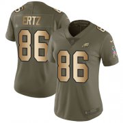 Wholesale Cheap Nike Eagles #86 Zach Ertz Olive/Gold Women's Stitched NFL Limited 2017 Salute to Service Jersey