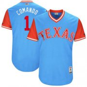 "Wholesale Cheap Rangers #1 Elvis Andrus Light Blue ""Comando"" Players Weekend Authentic Stitched MLB Jersey"