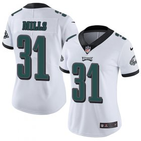 Wholesale Cheap Nike Eagles #31 Jalen Mills White Women\'s Stitched NFL Vapor Untouchable Limited Jersey