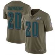 Wholesale Cheap Nike Eagles #20 Brian Dawkins Olive Men's Stitched NFL Limited 2017 Salute To Service Jersey