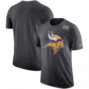 Wholesale Cheap NFL Men's Minnesota Vikings Nike Anthracite Crucial Catch Tri-Blend Performance T-Shirt