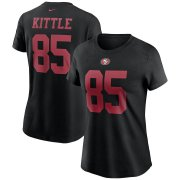 Wholesale Cheap San Francisco 49ers #85 George Kittle Nike Women's Team Player Name & Number T-Shirt Black