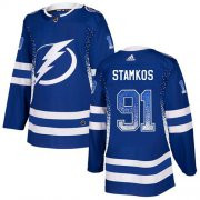 Wholesale Cheap Adidas Lightning #91 Steven Stamkos Blue Home Authentic Drift Fashion Stitched NHL Jersey