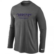 Wholesale Cheap Nike Los Angeles Chargers Authentic Font Long Sleeve T-Shirt Dark Grey