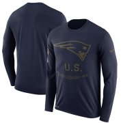 Wholesale Cheap Men's New England Patriots Nike Navy Salute to Service Sideline Legend Performance Long Sleeve T-Shirt