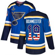Wholesale Cheap Adidas Blues #19 Jay Bouwmeester Blue Home Authentic USA Flag Stanley Cup Champions Stitched NHL Jersey