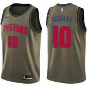 Wholesale Cheap Nike Pistons #10 Dennis Rodma Green Salute to Service NBA Swingman Jersey