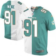 Wholesale Cheap Nike Dolphins #91 Cameron Wake Aqua Green/White Men's Stitched NFL Elite Split Jersey
