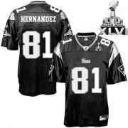 Wholesale Cheap Patriots #81 Aaron Hernandez Black Shadow Super Bowl XLVI Embroidered NFL Jersey