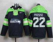Wholesale Cheap Nike Seahawks #22 C. J. Prosise Navy Blue Player Pullover NFL Hoodie